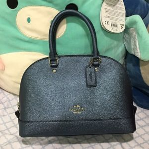 metallic blue coach purse
